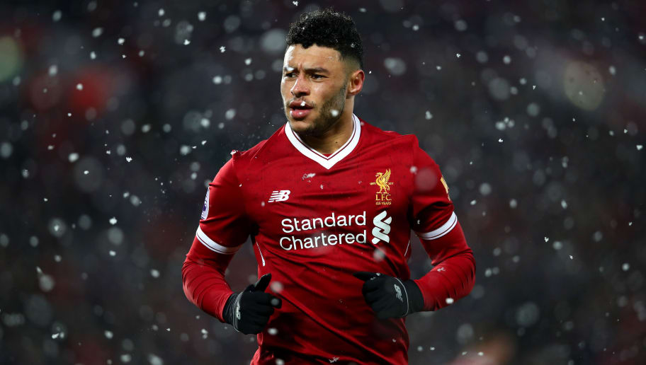 LIVERPOOL, ENGLAND - DECEMBER 10:  Alex Oxlade-Chamberlain of Liverpool in action during the Premier League match between Liverpool and Everton at Anfield on December 10, 2017 in Liverpool, England.  (Photo by Clive Brunskill/Getty Images)