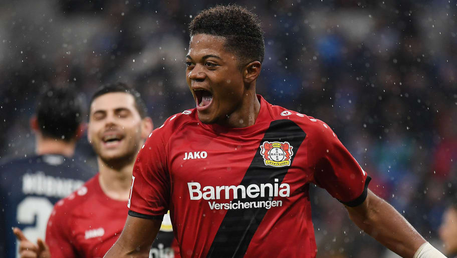 SINSHEIM, GERMANY - JANUARY 20: Leon Bailey of Bayer Leverkusen (9) celebrates after he scored a goal to make it 0:1 during the Bundesliga match between TSG 1899 Hoffenheim and Bayer 04 Leverkusen at Wirsol Rhein-Neckar-Arena on January 20, 2018 in Sinsheim, Germany. (Photo by Matthias Hangst/Bongarts/Getty Images)