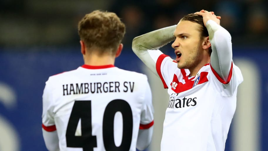 HAMBURG, GERMANY - DECEMBER 12: Albin Ekdal of Hamburg reacts during the Bundesliga match between Hamburger SV and Eintracht Frankfurt at Volksparkstadion on December 12, 2017 in Hamburg, Germany.  (Photo by Martin Rose/Bongarts/Getty Images)