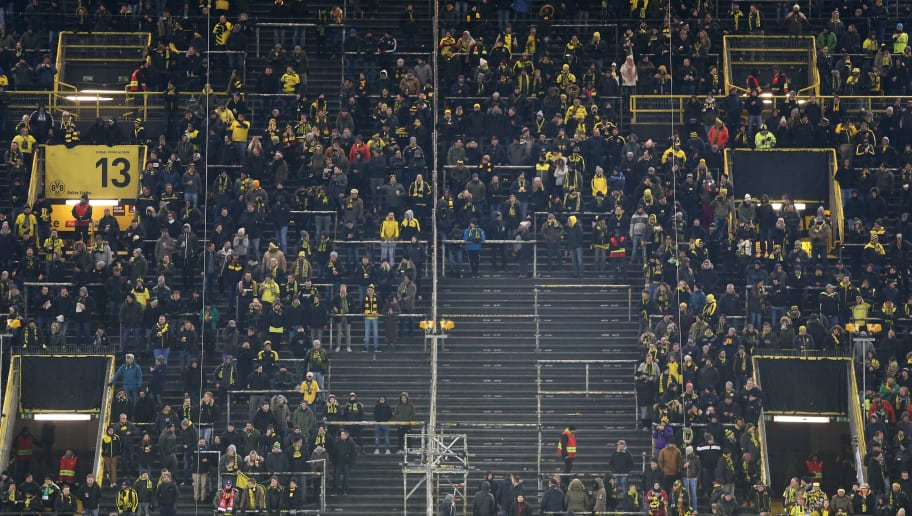 DORTMUND, GERMANY - FEBRUARY 26:  A view of the almost empty south stand that normally holds 26,000 fans as the fans make their protest against monday evening matches during the Bundesliga match between Borussia Dortmund and FC Augsburg at Signal Iduna Park on February 26, 2018 in Dortmund, Germany.  (Photo by Christof Koepsel/Bongarts/Getty Images)