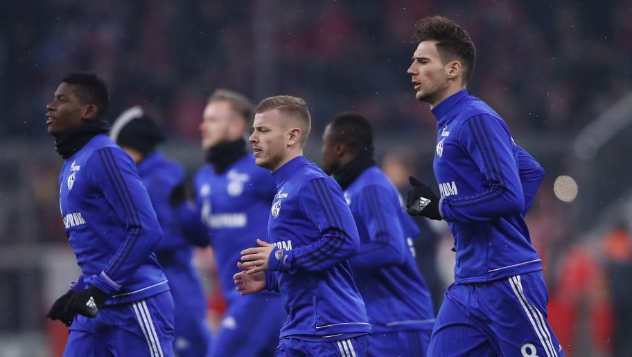 MUNICH, GERMANY - FEBRUARY 10: Leon Goretzka of Schalke (8) and Maximilian Meyer of Schalke (7) run during warm up before the Bundesliga match between FC Bayern Muenchen and FC Schalke 04 at Allianz Arena on February 10, 2018 in Munich, Germany. (Photo by Alex Grimm/Bongarts/Getty Images)