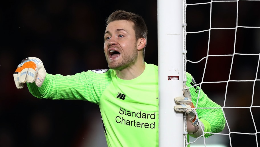BOURNEMOUTH, ENGLAND - DECEMBER 17:  Simon Mignolet of Liverpool instructs his team during the Premier League match between AFC Bournemouth and Liverpool at Vitality Stadium on December 17, 2017 in Bournemouth, England.  (Photo by Bryn Lennon/Getty Images)