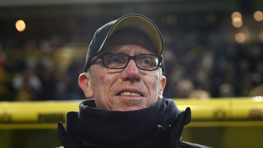 DORTMUND, GERMANY - FEBRUARY 26:  Peter Stoeger, head coach of Dortmund looks on prior to  the Bundesliga match between Borussia Dortmund and FC Augsburg at Signal Iduna Park on February 26, 2018 in Dortmund, Germany.  (Photo by Christof Koepsel/Bongarts/Getty Images)