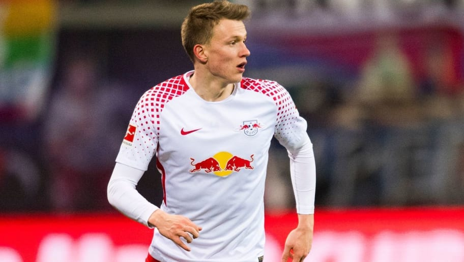 Leipzig'sdefender Lukas Klostermann plays the ball during the German first division Bundesliga football match RB Leipzig vs FC Cologne in Leipzig, eastern Germany, on February 25, 2018. / AFP PHOTO / ROBERT MICHAEL / RESTRICTIONS: DURING MATCH TIME: DFL RULES TO LIMIT THE ONLINE USAGE TO 15 PICTURES PER MATCH AND FORBID IMAGE SEQUENCES TO SIMULATE VIDEO. == RESTRICTED TO EDITORIAL USE == FOR FURTHER QUERIES PLEASE CONTACT DFL DIRECTLY AT + 49 69 650050  / RESTRICTIONS: DURING MATCH TIME: DFL RULES TO LIMIT THE ONLINE USAGE TO 15 PICTURES PER MATCH AND FORBID IMAGE SEQUENCES TO SIMULATE VIDEO. == RESTRICTED TO EDITORIAL USE == FOR FURTHER QUERIES PLEASE CONTACT DFL DIRECTLY AT + 49 69 650050        (Photo credit should read ROBERT MICHAEL/AFP/Getty Images)