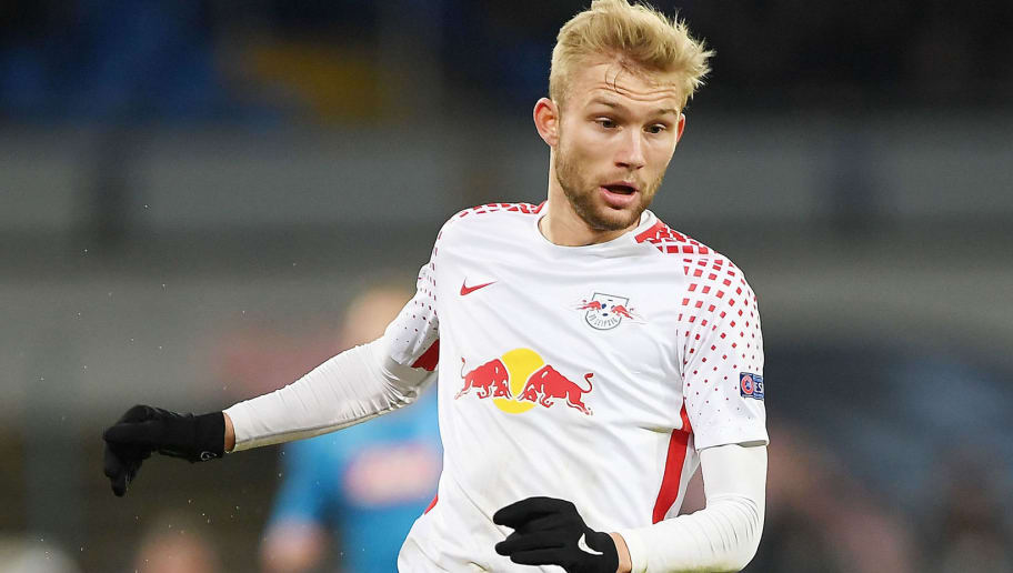 NAPLES, ITALY - FEBRUARY 15:  Konrad Laimer of RB Leipzig in action during UEFA Europa League Round of 32 match between Napoli and RB Leipzig at the Stadio San Paolo on February 15, 2018 in Naples, Italy.  (Photo by Francesco Pecoraro/Getty Images)