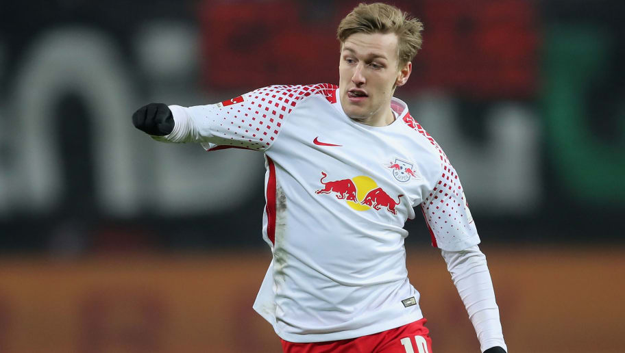 LEIPZIG, GERMANY - MARCH 03: Emil Forsberg of RB Leipzig runs with the ball during the Bundesliga match between RB Leipzig and Borussia Dortmund at Red Bull Arena on March 3, 2018 in Leipzig, Germany.  (Photo by Boris Streubel/Bongarts/Getty Images)