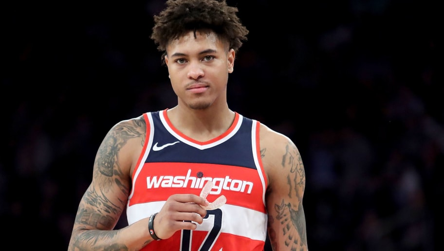 NEW YORK, NY - FEBRUARY 14:  Kelly Oubre Jr. #12 of the Washington Wizards reacts in the second half against the New York Knicks during their game at Madison Square Garden on February 14, 2018 in New York City. NOTE TO USER: User expressly acknowledges and agrees that, by downloading and or using this photograph, User is consenting to the terms and conditions of the Getty Images License Agreement.  (Photo by Abbie Parr/Getty Images)