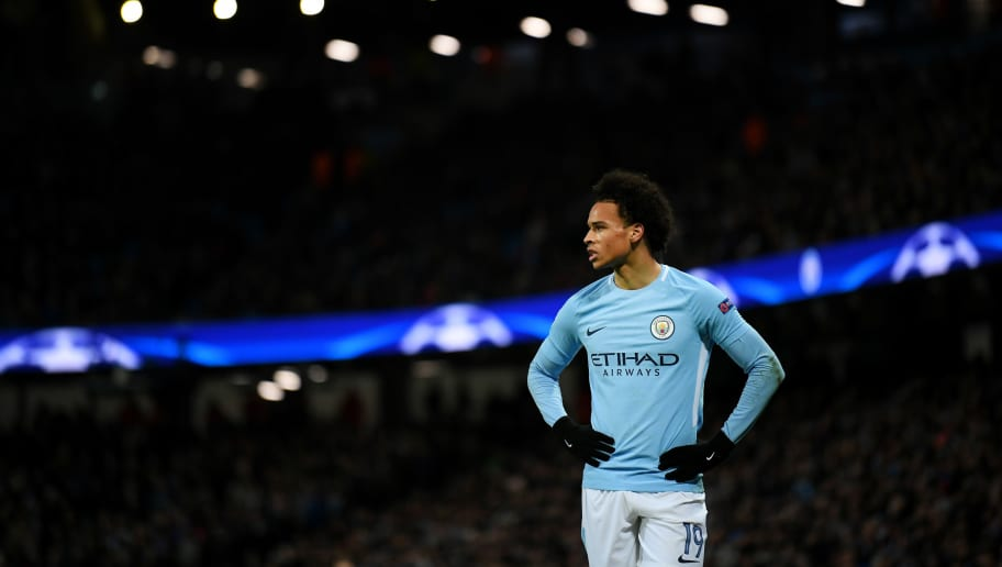 MANCHESTER, ENGLAND - MARCH 07:  Leroy Sane of Manchester City looks on during the UEFA Champions League Round of 16 Second Leg match between Manchester City and FC Basel at Etihad Stadium on March 7, 2018 in Manchester, United Kingdom.  (Photo by Laurence Griffiths/Getty Images)