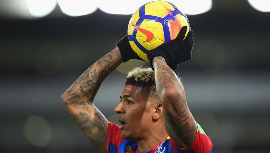 LONDON, ENGLAND - MARCH 05:  Patrick van Aanholt of Crystal Palace prepares to take a throw in during the Premier League match between Crystal Palace and Manchester United at Selhurst Park on March 5, 2018 in London, England.  (Photo by Tony Marshall/Getty Images)