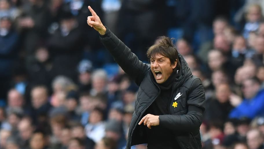 Chelsea's Italian head coach Antonio Conte gestures during the English Premier League football match between Manchester City and Chelsea at the Etihad Stadium in Manchester, north west England on March 4, 2018. / AFP PHOTO / Anthony Devlin / RESTRICTED TO EDITORIAL USE. No use with unauthorized audio, video, data, fixture lists, club/league logos or 'live' services. Online in-match use limited to 75 images, no video emulation. No use in betting, games or single club/league/player publications.  /         (Photo credit should read ANTHONY DEVLIN/AFP/Getty Images)