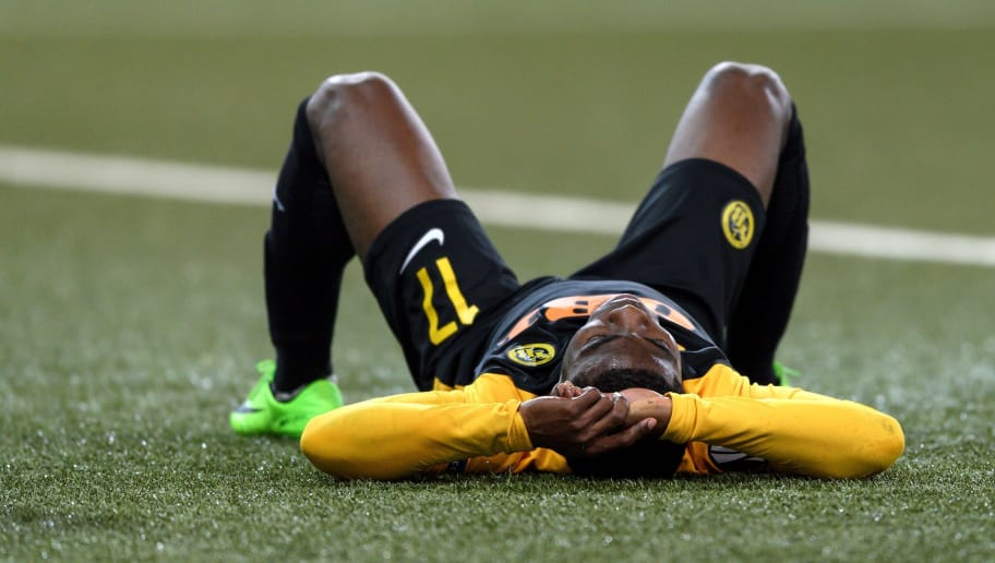 Young Boys' Ivorian forward   Roger Assale reacts at the end of the UEFA Europa League Group B football match between Young Boys and Dynamo Kiev at Stade de Suisse stadium on November 2, 2017 in Bern. / AFP PHOTO / Fabrice COFFRINI        (Photo credit should read FABRICE COFFRINI/AFP/Getty Images)