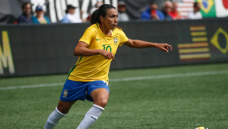 SEATTLE, WA - JULY 27:  Marta #10 of Brazil dribbles against Japan during the 2017 Tournament of Nations at CenturyLink Field on July 27, 2017 in Seattle, Washington.  (Photo by Otto Greule Jr/Getty Images)