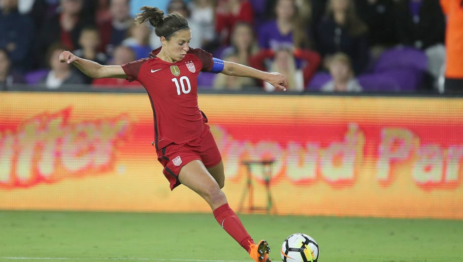 ORLANDO, FL - MARCH 07:  Carli Lloyd #10 of United States kicks the ball during the SheBelieves Cup soccer match against England at Orlando City Stadium on March 7, 2018 in Orlando, Florida. (Photo by Alex Menendez/ Getty Images)