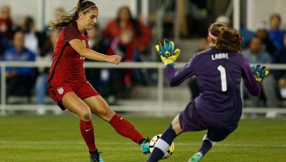 SAN JOSE, CA - NOVEMBER 12: Goalkeeper Stephanie Labbe #1 of Canada blocks a shot by Alex Morgan #13 of the United States during a friendly match at Avaya Stadium on November 12, 2017 in San Jose, California.  (Photo by Lachlan Cunningham/Getty Images)