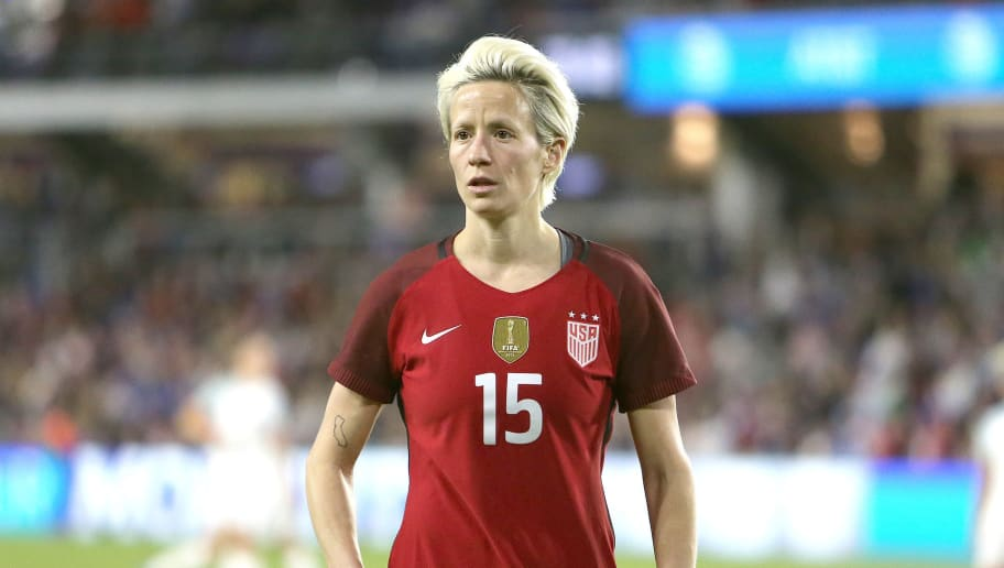 ORLANDO, FL - MARCH 07:  Megan Rapinoe #15 of United States is seen during the SheBelieves Cup soccer match against England at Orlando City Stadium on March 7, 2018 in Orlando, Florida. (Photo by Alex Menendez/ Getty Images)