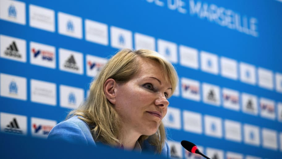 Olympique de Marseille football club owner Margarita Louis-Dreyfus attends a press conference on August 4, 2016 at the Velodrome stadium in Marseille, southern France. Marseille have re-signed attacking midfielder Florian Thauvin from Newcastle United, the French club confirmed on August 3, 2016. The 23-year-old was sold by Marseille to Newcastle at the start of last season, but after failing to impress in any of his 12 Premier League appearances he was loaned back to the Ligue 1 side.  / AFP / BERTRAND LANGLOIS        (Photo credit should read BERTRAND LANGLOIS/AFP/Getty Images)