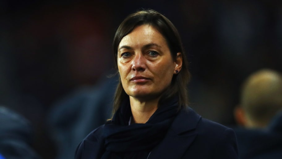 VALENCIENNES, FRANCE - OCTOBER 20:  France Manager / Head coach, Corinne Diacre looks on during the International friendly match between France and Women held at Stade du Hainaut on October 20, 2017 in Valenciennes, France.  (Photo by Dean Mouhtaropoulos/Getty Images)