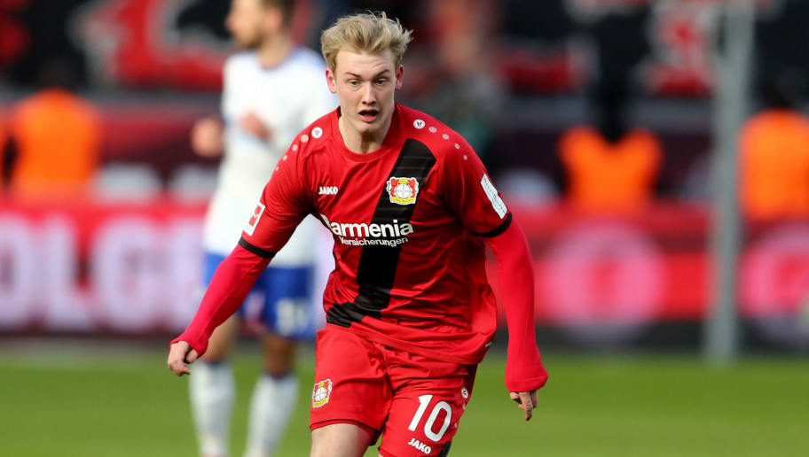 LEVERKUSEN, GERMANY - FEBRUARY 25: Julian Brandt of Leverkusen runs with the ball during the Bundesliga match between Bayer 04 Leverkusen and FC Schalke 04 at BayArena on February 25, 2018 in Leverkusen, Germany. (Photo by Christof Koepsel/Bongarts/Getty Images)