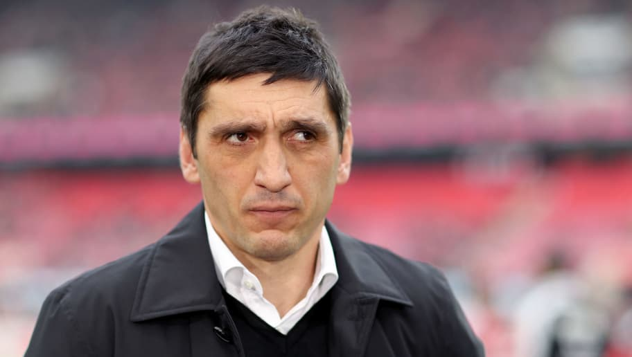 COLOGNE, GERMANY - MARCH 04: Head coach Tayfun Korkut of Stuttgart looks on prior to the Bundesliga match between 1. FC Koeln and VfB Stuttgart at RheinEnergieStadion on March 4, 2018 in Cologne, Germany. (Photo by Christof Koepsel/Bongarts/Getty Images)
