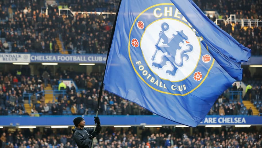 The Chelsea club flag is seen before kick off of the English Premier League football match between Chelsea and Leicester City at Stamford Bridge in London on January 13, 2018. / AFP PHOTO / Tolga AKMEN / RESTRICTED TO EDITORIAL USE. No use with unauthorized audio, video, data, fixture lists, club/league logos or 'live' services. Online in-match use limited to 75 images, no video emulation. No use in betting, games or single club/league/player publications.  /         (Photo credit should read TOLGA AKMEN/AFP/Getty Images)