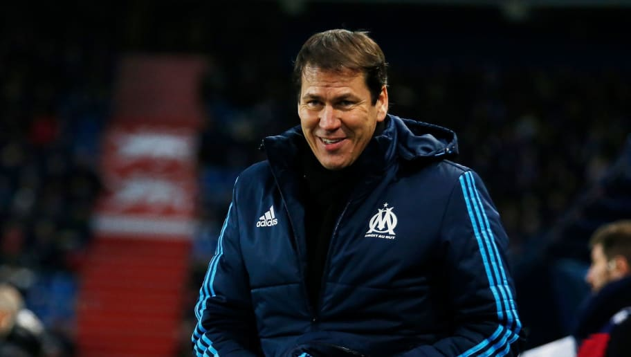 Olympique de Marseille's French head coach Rudi Garcia reacts  during the French L1 football match between Caen (SMC) and Marseille (OM) on January 19, 2018, at the Michel d'Ornano stadium in Caen, northwestern France. / AFP PHOTO / CHARLY TRIBALLEAU        (Photo credit should read CHARLY TRIBALLEAU/AFP/Getty Images)