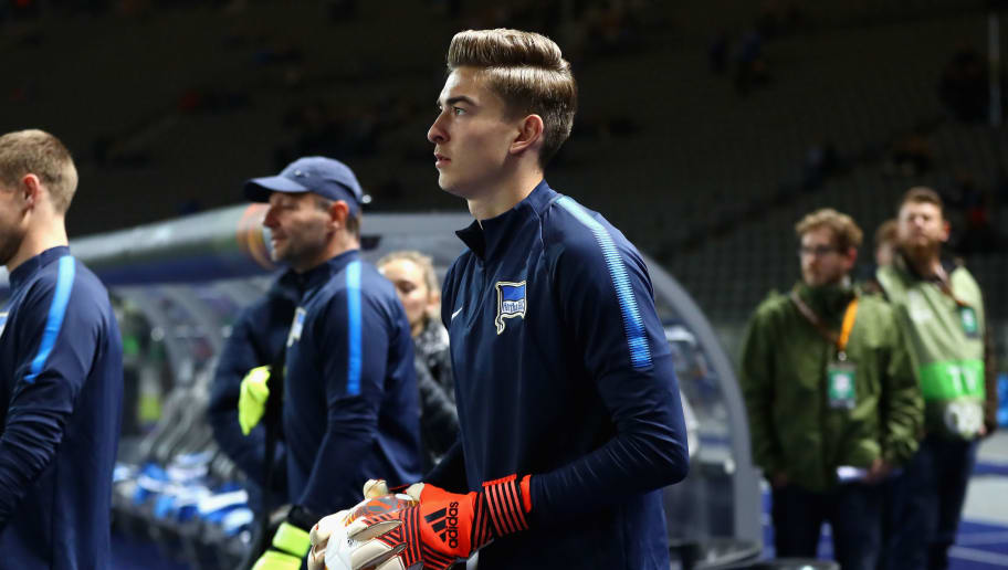 BERLIN, GERMANY - NOVEMBER 02:  Jonathan Klinsmann of Hertha BSC Berlin makes his way to the pitch for warm up prior to the UEFA Europa League group J match between Hertha BSC and Zorya Lugansk at Olympiastadion on November 2, 2017 in Berlin, Germany.  (Photo by Martin Rose/Bongarts/Getty Images)