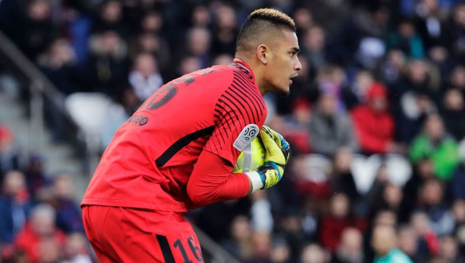 d456e385c5b Paris Saint-Germain's French goalkeeper Alphonse Areola catches the ball  during the French L1 football