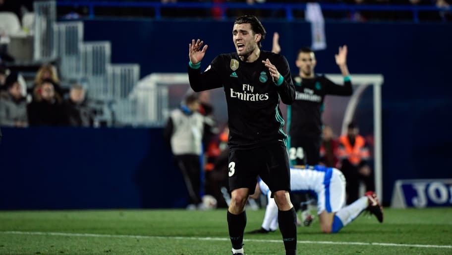 Real Madrid's Croatian midfield forward Mateo Kovacic reacts after missing a goal opportunity during the Spanish 'Copa del Rey' (King's cup) football match between Leganes and Real Madrid at the Estadio Municipal Butarque in Leganes on January 18, 2018. / AFP PHOTO / OSCAR DEL POZO        (Photo credit should read OSCAR DEL POZO/AFP/Getty Images)