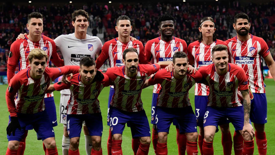 Atletico´s players pose before the Europa League Round of 16 first leg football match between Club Atletico de Madrid and FC Lokomotiv Moscow at the Wanda Metropolitano stadium in Madrid on March 8, 2018. / AFP PHOTO / JAVIER SORIANO        (Photo credit should read JAVIER SORIANO/AFP/Getty Images)
