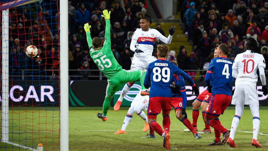 Lyon's Brazilian defender Marcelo scores a goal past CSKA Moscow's goalkeeper from Russia Igor Akinfeev during the UEFA Europa League round of 16 first leg football match between PFC CSKA Moscow and Olympique Lyonnais in Moscow on March 8, 2018. / AFP PHOTO / Alexander NEMENOV        (Photo credit should read ALEXANDER NEMENOV/AFP/Getty Images)