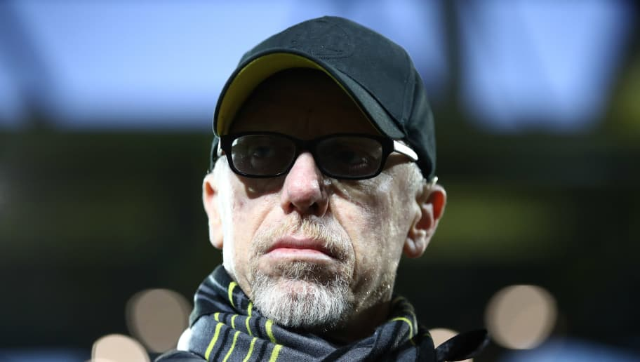 DORTMUND, GERMANY - MARCH 08:  Peter Stoeger, head coach of Borussia Dortmund looks on prior to the UEFA Europa League Round of 16 match between Borussia Dortmund and FC Red Bull Salzburg at the Signal Iduna Park on March 8, 2018 in Dortmund, Germany.  (Photo by Maja Hitij/Bongarts/Getty Images)