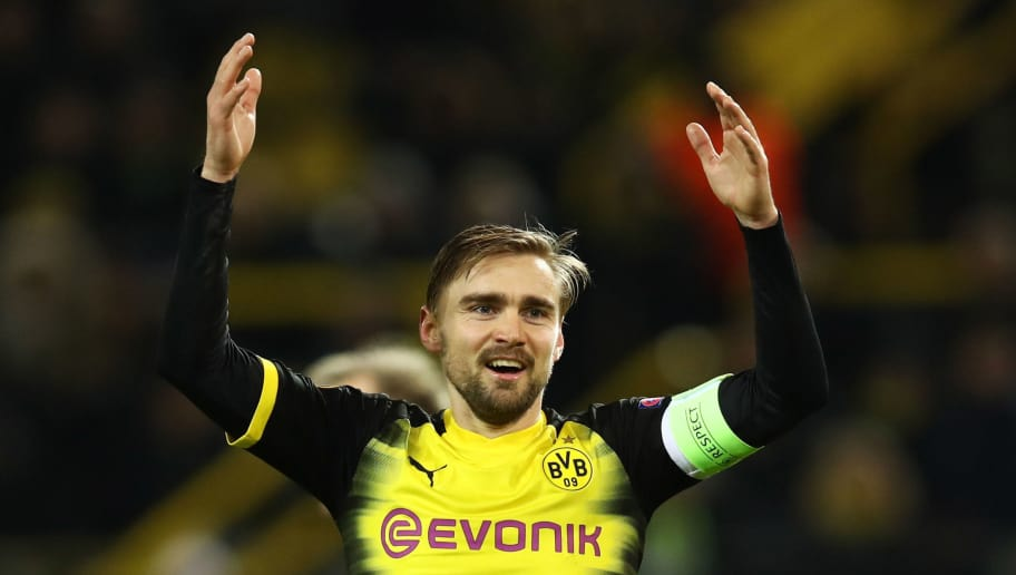DORTMUND, GERMANY - MARCH 08:  Marcel Schmelzer of Borussia Dortmund reacts during the UEFA Europa League Round of 16 match between Borussia Dortmund and FC Red Bull Salzburg at the Signal Iduna Park on March 8, 2018 in Dortmund, Germany.  (Photo by Maja Hitij/Bongarts/Getty Images)