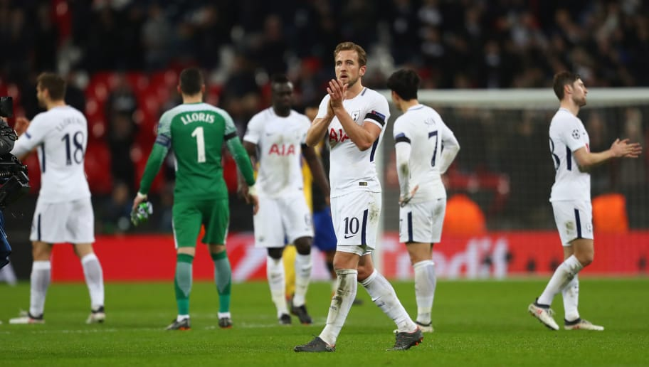 LONDON, ENGLAND - MARCH 07:  Harry Kane of Tottenham applauds the supporters following his teams 1-2 defeat during the UEFA Champions League Round of 16 Second Leg match between Tottenham Hotspur and Juventus at Wembley Stadium on March 7, 2018 in London, United Kingdom.  (Photo by Michael Steele/Getty Images)