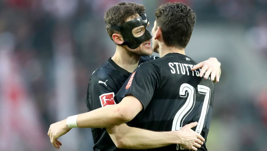 COLOGNE, GERMANY - MARCH 04: (L-R) Christian Gentner and Mario Gomez of Stuttgart celebrate after the Bundesliga match between 1. FC Koeln and VfB Stuttgart at RheinEnergieStadion on March 4, 2018 in Cologne, Germany. The match between Koeln and Stuttgart ended 2-3. (Photo by Christof Koepsel/Bongarts/Getty Images)