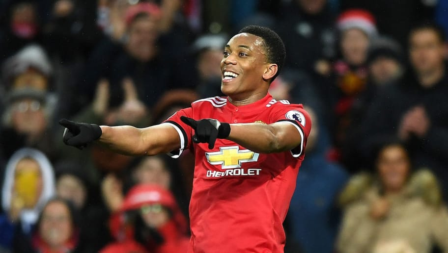 MANCHESTER, ENGLAND - JANUARY 15:  Anthony Martial of Manchester United celebrates scoring his side's second goal during the Premier League match between Manchester United and Stoke City at Old Trafford on January 15, 2018 in Manchester, England.  (Photo by Gareth Copley/Getty Images)