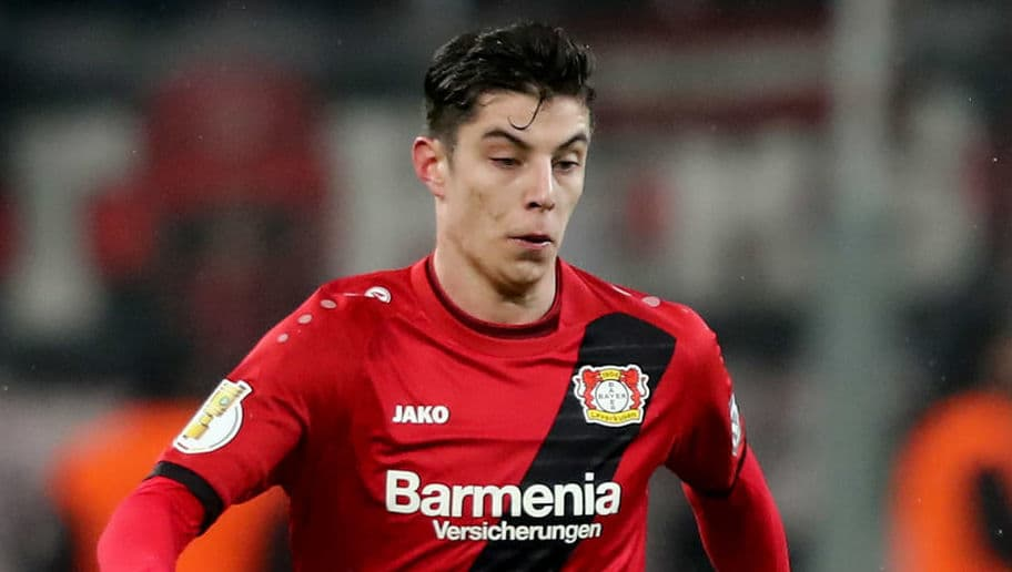 LEVERKUSEN, GERMANY - FEBRUARY 06: Kai Havertz of Leverkusen runs with the ball the DFB Cup quarter final match between Bayer Leverkusen and Werder Bermen at BayArena on February 6, 2018 in Leverkusen, Germany. The match between Leverkusen and Bremen ended 4-2 after extra time. (Photo by Christof Koepsel/Bongarts/Getty Images)