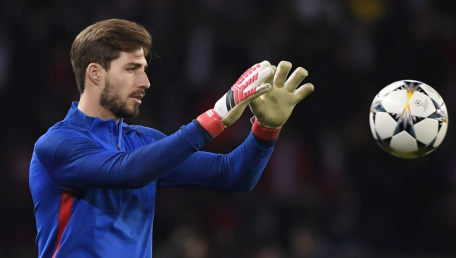Paris Saint-Germain's German goalkeeper Kevin Trapp warms up prior to the  UEFA Champions League round of 16 second leg football match between Paris Saint-Germain (PSG) and Real Madrid on March 6, 2018, at the Parc des Princes stadium in Paris. / AFP PHOTO / PIERRE-PHILIPPE MARCOU        (Photo credit should read PIERRE-PHILIPPE MARCOU/AFP/Getty Images)