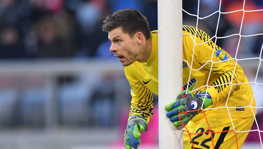 MUNICH, GERMANY - FEBRUARY 24: Goalkeeper Rune Jarstein of Berlin looks on during the Bundesliga match between FC Bayern Muenchen and Hertha BSC at Allianz Arena on February 24, 2018 in Munich, Germany. (Photo by Sebastian Widmann/Bongarts/Getty Images)