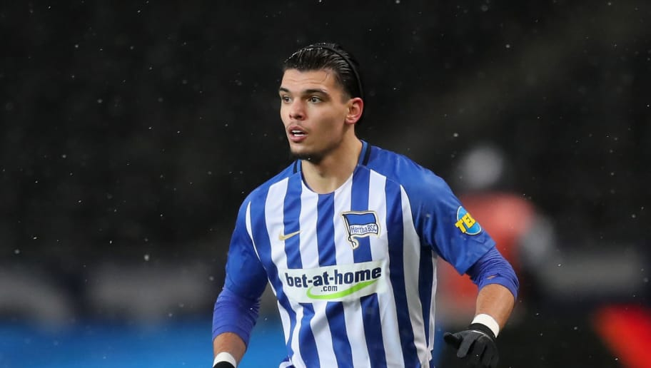 BERLIN, GERMANY - DECEMBER 13: Karim Rekik of Hertha BSC runs with the ball during the Bundesliga match between Hertha BSC and Hannover 96 at Olympiastadion on December 13, 2017 in Berlin, Germany.  (Photo by Boris Streubel/Bongarts/Getty Images )
