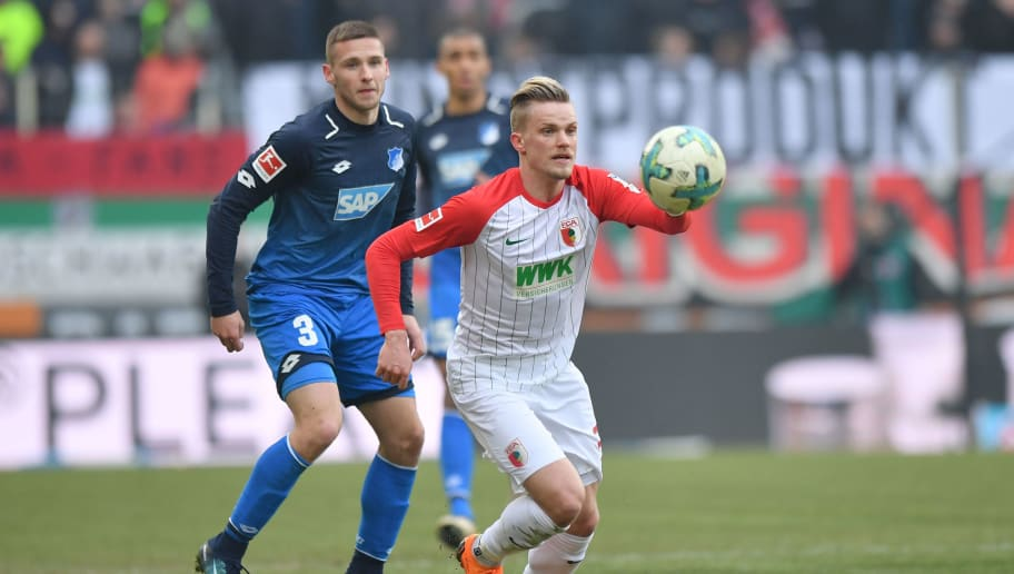 AUGSBURG, GERMANY - MARCH 03: Philipp Max of Augsburg plays the ball during the Bundesliga match between FC Augsburg and TSG 1899 Hoffenheim at WWK-Arena on March 3, 2018 in Augsburg, Germany. (Photo by Sebastian Widmann/Bongarts/Getty Images)