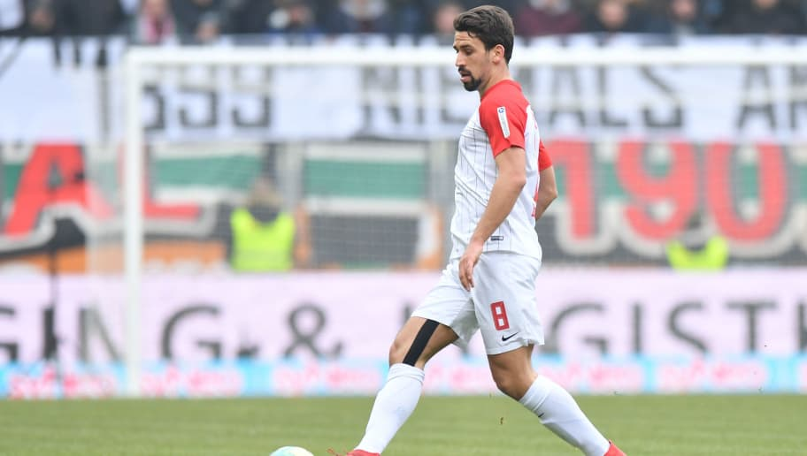 AUGSBURG, GERMANY - MARCH 03: Rani Khedira of Augsburg plays the ball during the Bundesliga match between FC Augsburg and TSG 1899 Hoffenheim at WWK-Arena on March 3, 2018 in Augsburg, Germany. (Photo by Sebastian Widmann/Bongarts/Getty Images)