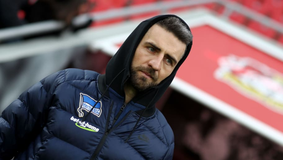 LEVERKUSEN, GERMANY - FEBRUARY 10: Vedad Ibisevic of Berlin looks on prior to the Bundesliga match between Bayer 04 Leverkusen and Hertha BSC at BayArena on February 10, 2018 in Leverkusen, Germany. The match between Leverkusen and Hertha ended 0-2. (Photo by Christof Koepsel/Bongarts/Getty Images)