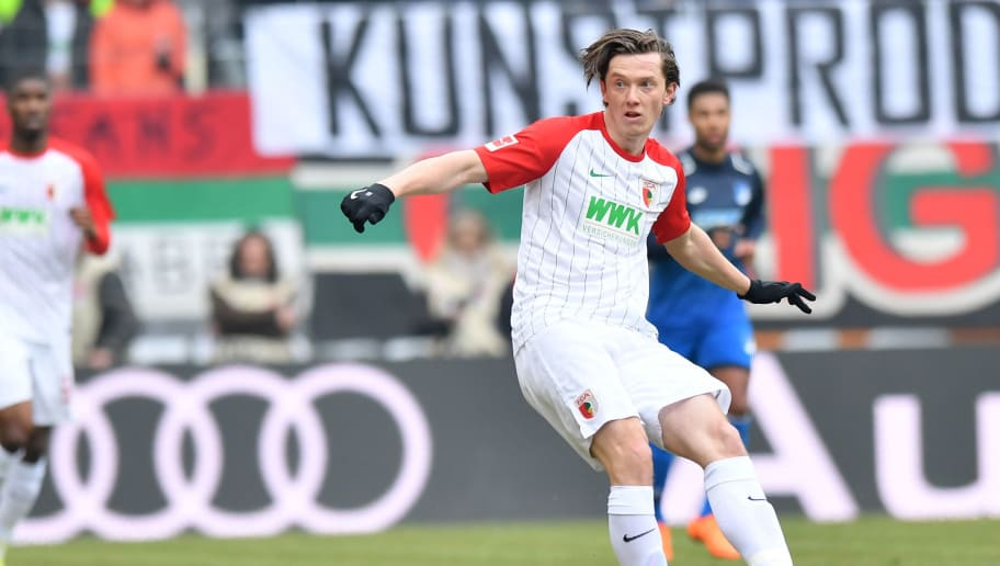 AUGSBURG, GERMANY - MARCH 03: Michael Gregoritsch of Augsburg passes the ball during the Bundesliga match between FC Augsburg and TSG 1899 Hoffenheim at WWK-Arena on March 3, 2018 in Augsburg, Germany. (Photo by Sebastian Widmann/Bongarts/Getty Images)