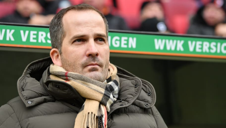 AUGSBURG, GERMANY - MARCH 03: Head coach Manuel Baum of Augsburg looks on prior to the Bundesliga match between FC Augsburg and TSG 1899 Hoffenheim at WWK-Arena on March 3, 2018 in Augsburg, Germany. (Photo by Sebastian Widmann/Bongarts/Getty Images)