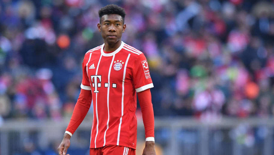 MUNICH, GERMANY - FEBRUARY 24: David Alaba of Bayern Muenchen looks on during the Bundesliga match between FC Bayern Muenchen and Hertha BSC at Allianz Arena on February 24, 2018 in Munich, Germany. (Photo by Sebastian Widmann/Bongarts/Getty Images)