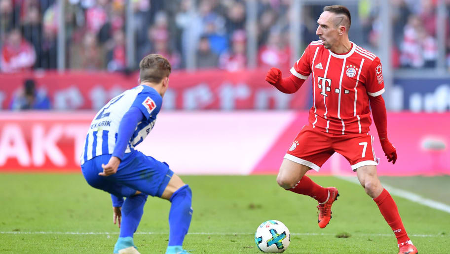 MUNICH, GERMANY - FEBRUARY 24: Franck Ribery of Bayern Muenchen plays the ball during the Bundesliga match between FC Bayern Muenchen and Hertha BSC at Allianz Arena on February 24, 2018 in Munich, Germany. (Photo by Sebastian Widmann/Bongarts/Getty Images)