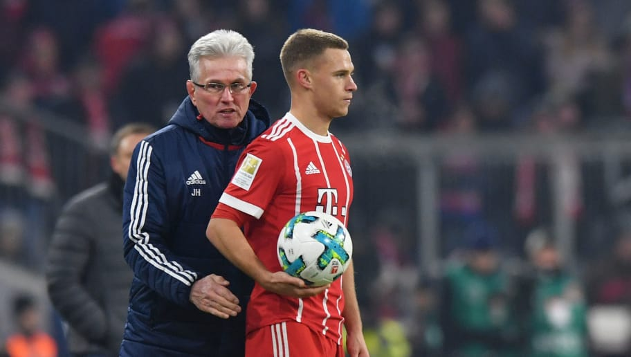 MUNICH, GERMANY - DECEMBER 02: Head coach Jupp Heynckes of Bayern Muenchen talks to Joshua Kimmich of Bayern Muenchen during the Bundesliga match between FC Bayern Muenchen and Hannover 96 at Allianz Arena on December 2, 2017 in Munich, Germany. (Photo by Sebastian Widmann/Bongarts/Getty Images)