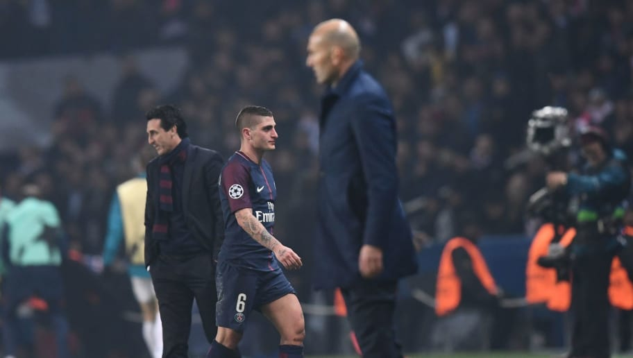 Paris Saint-Germain's Italian midfielder Marco Verratti (2L) leaves the pitch after taking a red card during the UEFA Champions League round of 16 second leg football match between Paris Saint-Germain (PSG) and Real Madrid on March 6, 2018, at the Parc des Princes stadium in Paris.  / AFP PHOTO / FRANCK FIFE        (Photo credit should read FRANCK FIFE/AFP/Getty Images)