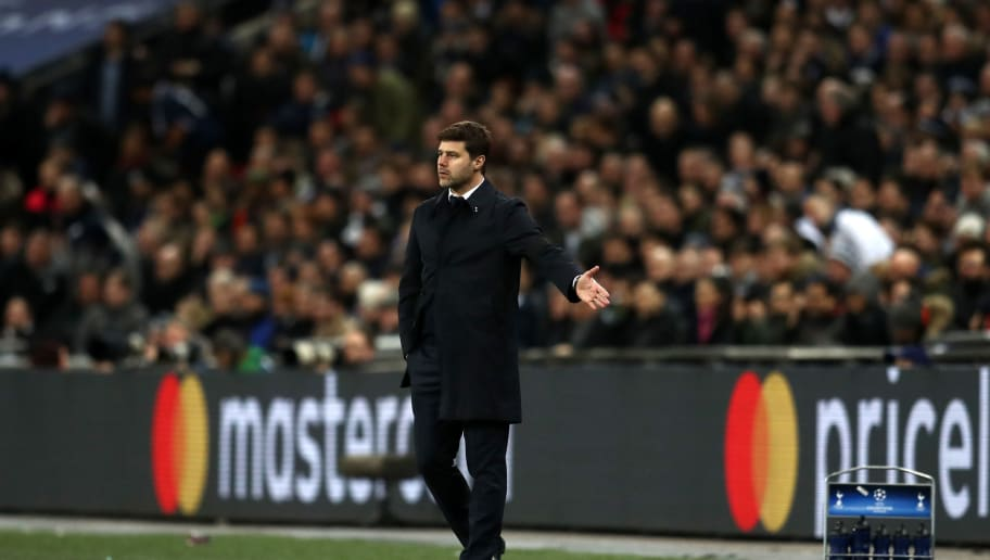 LONDON, ENGLAND - MARCH 07: Mauricio Pochettino manager / head coach of Tottenham Hotspur during the UEFA Champions League Round of 16 Second Leg match between Tottenham Hotspur and Juventus at Wembley Stadium on March 7, 2018 in London, United Kingdom. (Photo by Catherine Ivill/Getty Images)