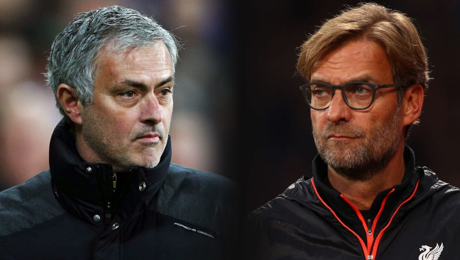 FILE PHOTO (EDITORS NOTE: GRADIENT ADDED - COMPOSITE OF TWO IMAGES - Image numbers (L) 630799888 and 619016290) In this composite image a comparison has been made between Jose Mourinho, Manager of Manchester United (L) and Jurgen Klopp, Manager of Liverpool. Manchester United and Liverpool meet in a Premier League match on March 10,2018 at Old Trafford in Manchester.   ***LEFT IMAGE*** STRATFORD, ENGLAND - JANUARY 02: Jose Mourinho, Manager of Manchester United looks on during the Premier League match between West Ham United and Manchester United at London Stadium on January 2, 2017 in Stratford, England. (Photo by Ian Walton/Getty Images) ***RIGHT IMAGE*** LONDON, ENGLAND - OCTOBER 29: Jurgen Klopp, Manager of Liverpool looks on during the Premier League match between Crystal Palace and Liverpool at Selhurst Park on October 29, 2016 in London, England. (Photo by Ian Walton/Getty Images)